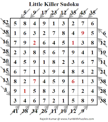 Little Killer Sudoku (Fun With Sudoku #195) Puzzle Solution