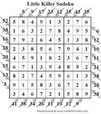 Little Killer Sudoku (Fun With Sudoku #195) Puzzle Solution