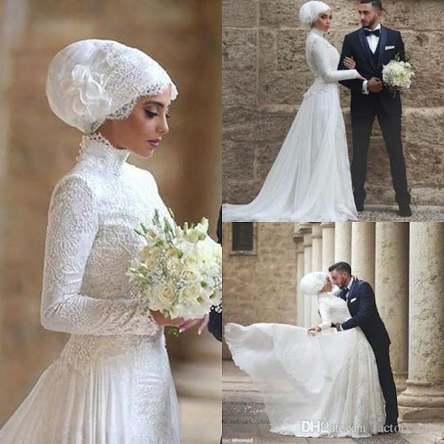 فستان زفاف للمحجبات شبه ضيق مع ذيل طويل وحجاب اسباني موديل 2020