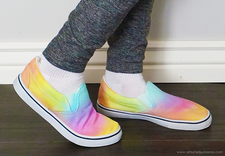 Wearing Rainbow Tie-Dye Shoes