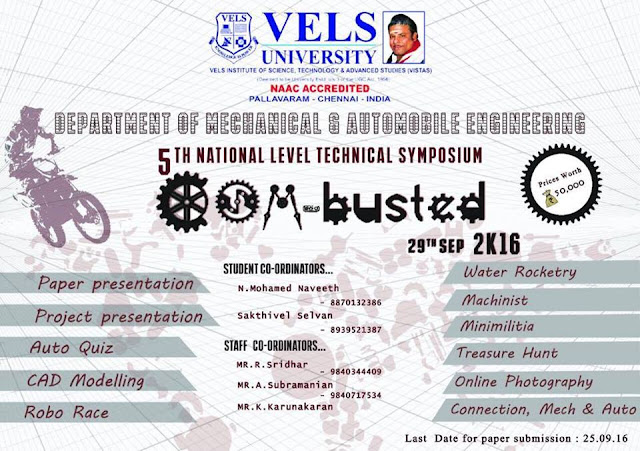 COM-Busted 2k16 Mechanical Department Symposium on 29th September 2016 at Vels University, Chennai