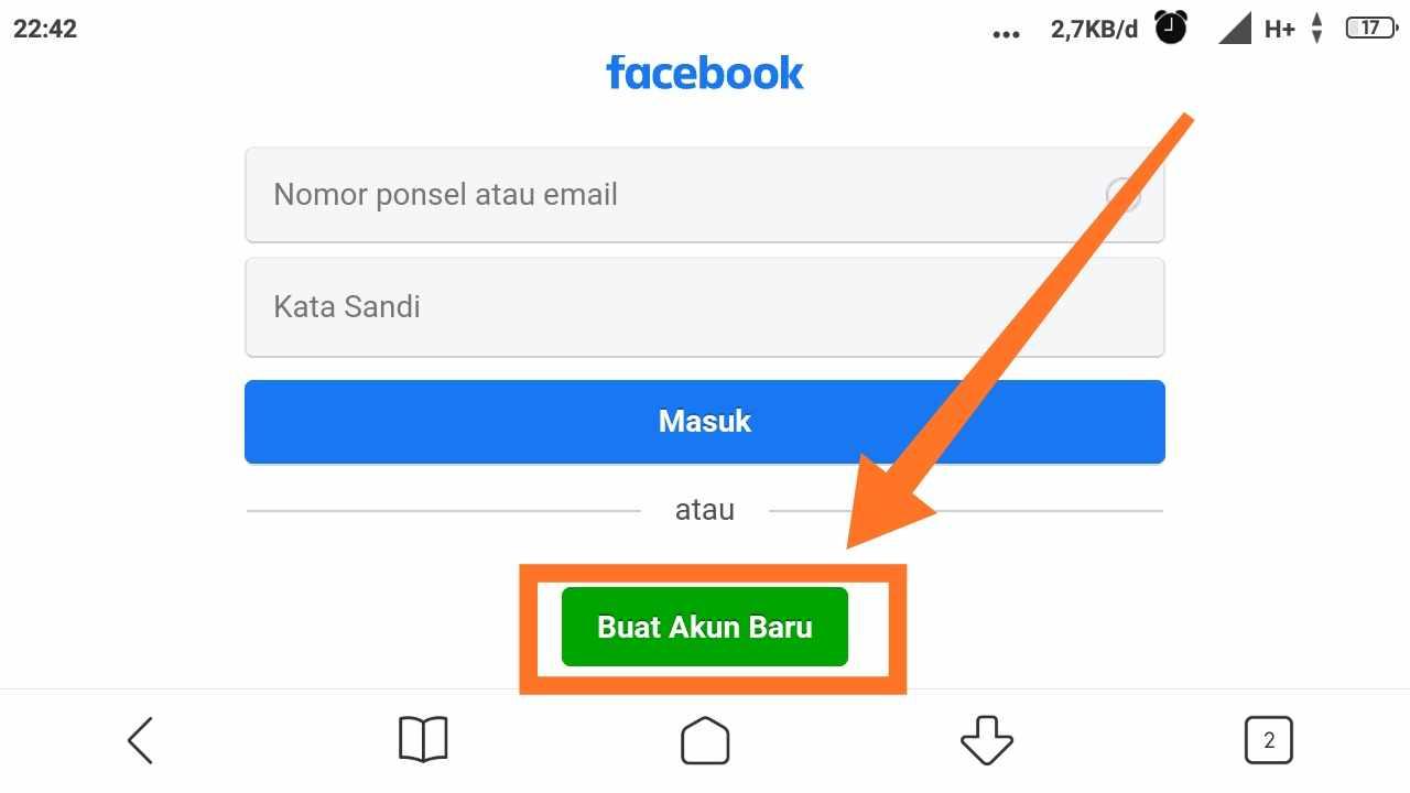 Buat email Facebook lewat hp