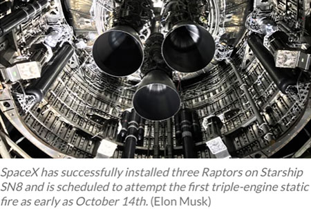 Starship SN8 with three Raptor engines installed (Source: Elon Musk)