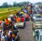 Photo allegedly shows Mubi villagers fleeing after yesterday's attack on their village