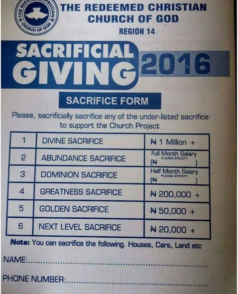 This tithe/offering request form from Redeemed Church has got tongues wagging