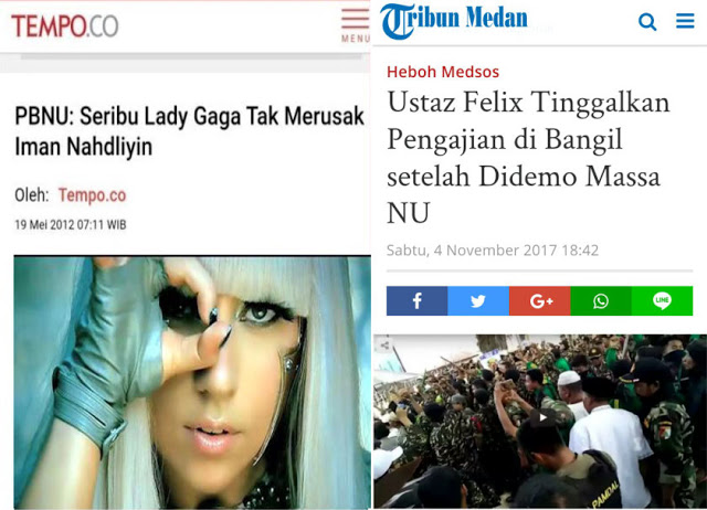 PBNU: Seribu Lady Gaga Tak Merusak Iman Nahdliyin; Tapi Kenapa Takut Pengajian 1 Felix Siauw?