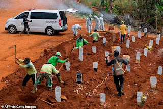 Anyone refusing to wear a mask is made to dig GRAVES for Covid-19 victims as punishment in East Java