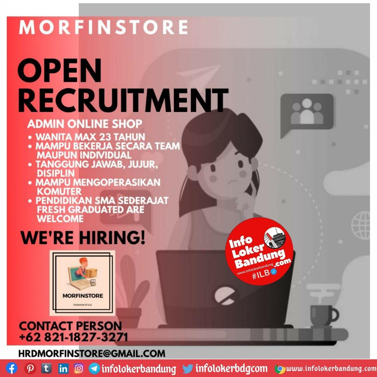 Lowongan Kerja Admin Online Shop Morfin Store Bandung September 2020