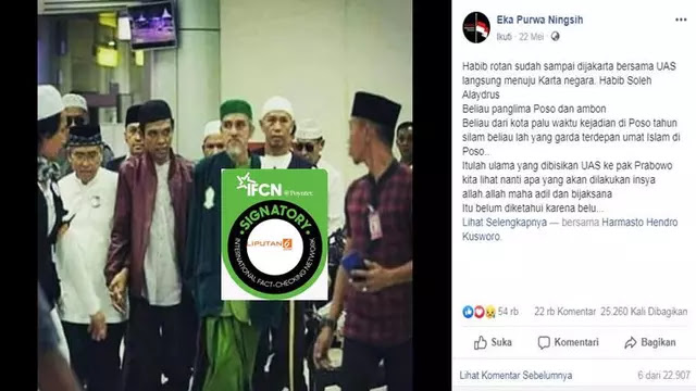 [HOAKS] UAS dan Habib Rotan Merapat ke Kediaman Prabowo? Ini Faktanya