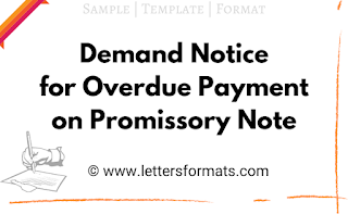 Demand Notice format for Overdue Payment on Promissory Note