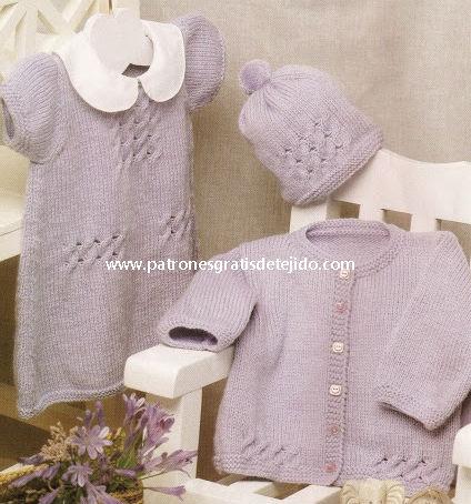 Conjunto dos agujas para bebe de vestido, gorro y chaqueta tutorial