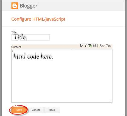 how to add html code in blogge webstie