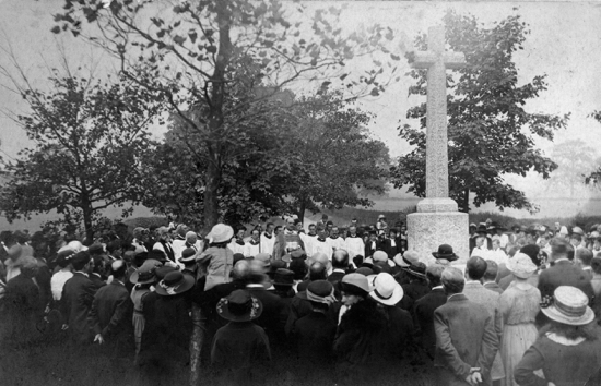 Photograph of the dedication of the North Mymms War Memorial