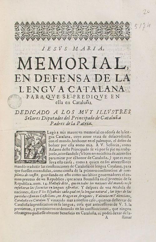 Memorial en defensa de la lengua catalana para que se predique en ella en Cataluña. 1