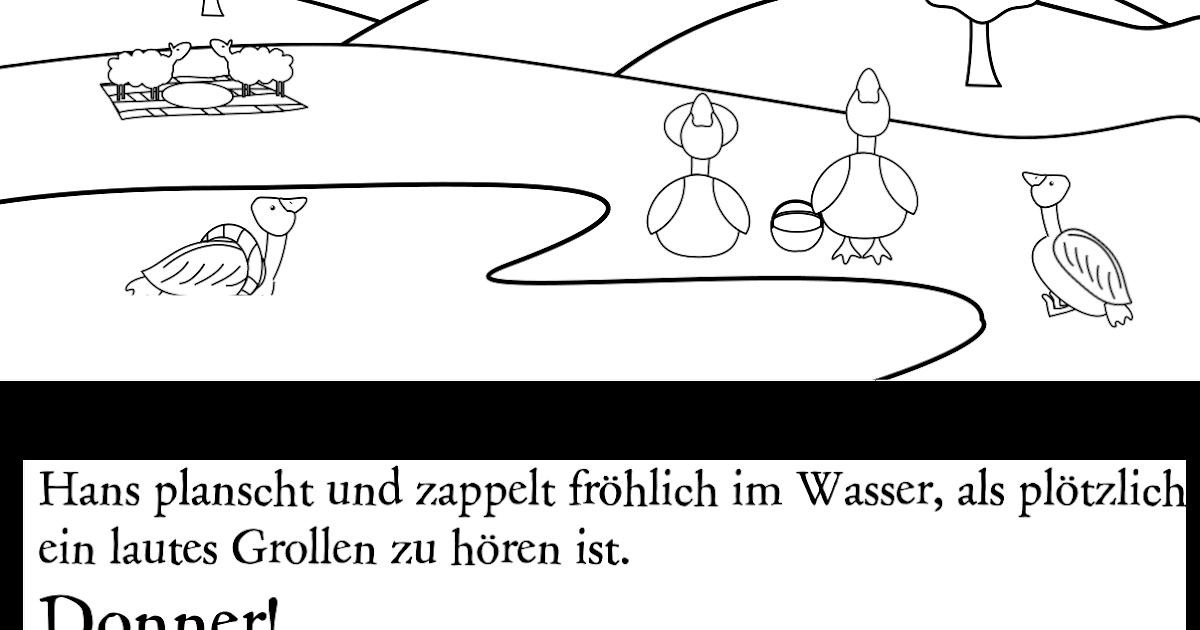 driftwool: hans die gans zum ausmalen - seiten 5 und 6