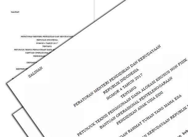 Permendikbud No 4 Tahun 2017 Tentang Penggunaan Dana Alokasi Khusus Non Fisik BOP PAUD