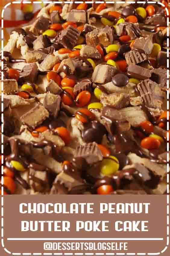 Chocolate peanut butter poke cake is for serious Reese's lovers only. Get the recipe at Delish.com. #DessertsBlogSelfe #delish #easy #recipe #chocolate #peanutbutter #pb #pokecake #cake #dessert #reeses #reesespieces #baking #BirthdayDesserts