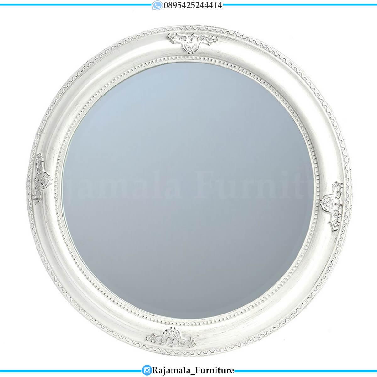 Harga Cermin Hias Mewah Bundar Luxury Style New White Duco Color RM-0664