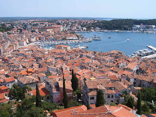 The Croatian port city of Rovinj on the Istrian peninsula,  which was part of Italy between 1920 and 1945