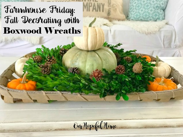 Farmhouse fall decor in tobacco basket with boxwood wreath pumpkins pinecones