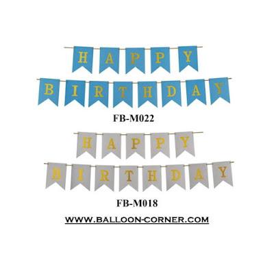 Bunting Flag Segilima HAPPY BIRTHDAY  Blue & Silver (Glitter)