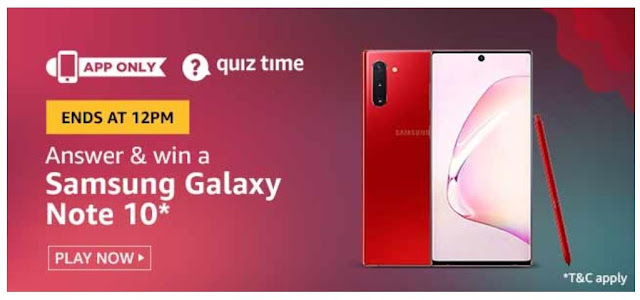 Amazon Quiz Answers Today 02 August 2020 Win Samsung Galaxy Note 10