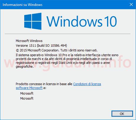 Finestra Informazioni su Windows versione installata