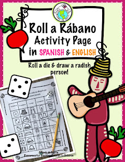 Roll a Rábano Activity Page English Spanish