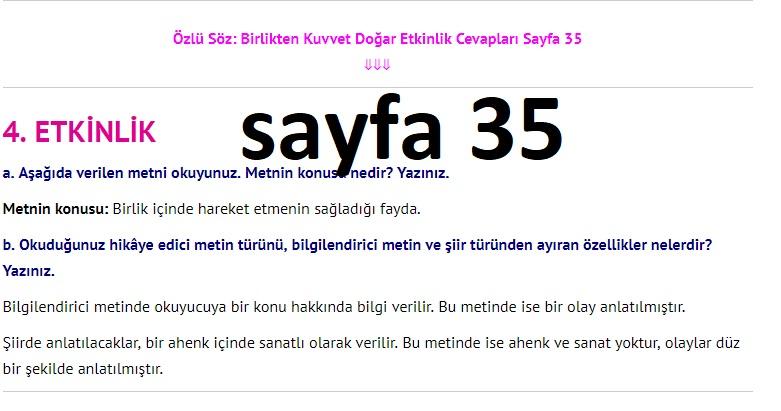 3. Sınıf Türkçe Çalışma Kitabı Cevapları Dikey Yayınları Sayfa 35