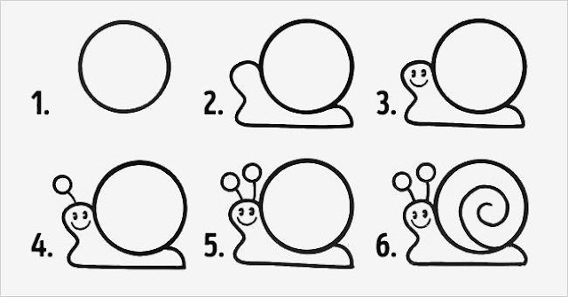 Cara Mudah Menggambar Siput Untuk Anak-Anak