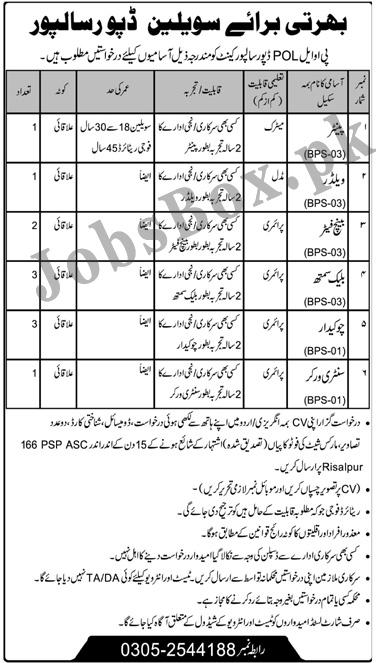 Pakistan Army POL Depot Risalpur Cantt Jobs 2021 in Pakistan
