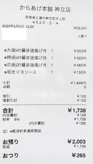からあげ本舗 いのいち 神立店 2020/5/4 のレシート