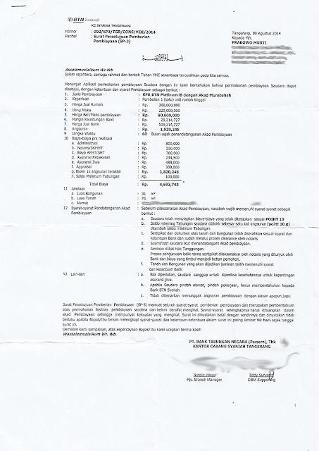 Rincian biaya kpr di bank btn syariah