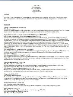 desktop support resume examples in word format free download - Desktop Support Resume
