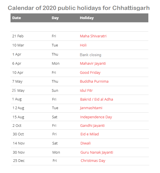 cg-govt-holiday-2020-calendar