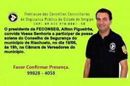 CONVITE: Feconseg convida a todos para a posse solene do Conselho de Segurança de Riachuelo