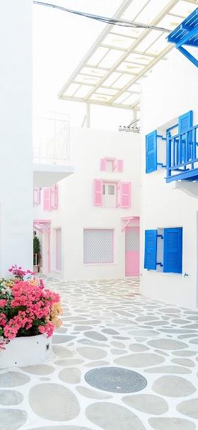 خلفية منازل الحي الشعبي الأبيض الجميلة