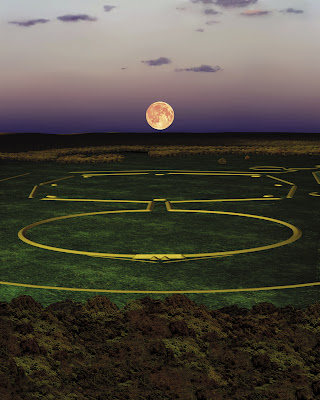 Computer projection of the lunar standstill at the Octagon State Memorial, Newark Earthworks. Image created by CERHAS, University of Cincinnati.