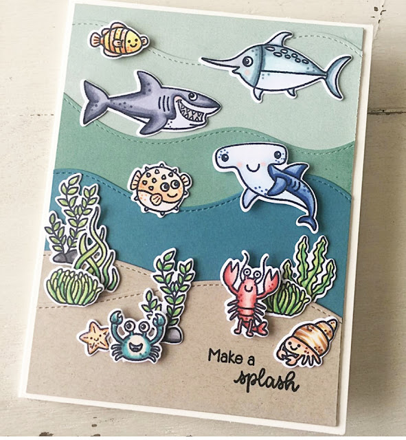 Sunny Studio Stamps: Best Fishes Customer Card by Julene VanKleeck