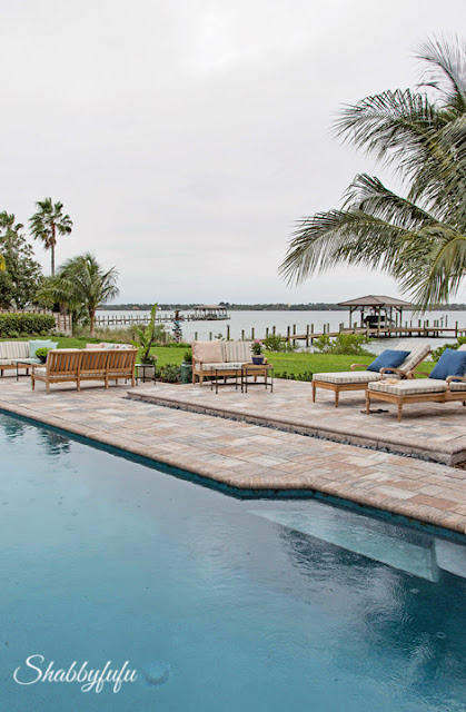 Back yard and pool area in the HGTV Dream Home 2016 overlooking the coast.