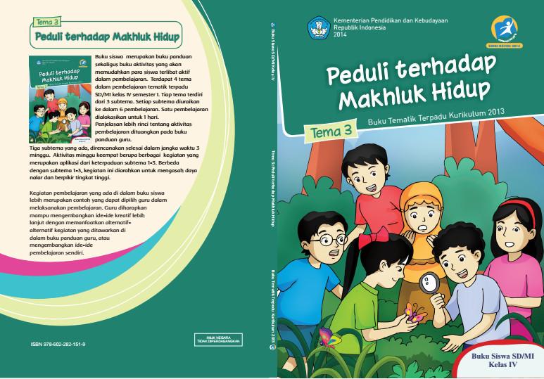 Download Buku Tematik Kurikulum 2013 SD/MI Kelas 4 Tema 3 Peduli terhadap Makhluk Hidup Edisi Revisi Format PDF