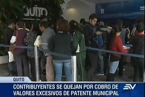 pago excesivo de patente municipal en Quito