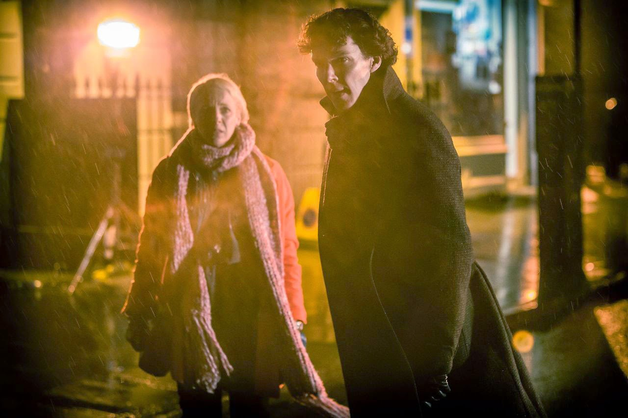 Benedict Cumberbatch and Amanda Abbington as Sherlock Holmes and Mary Morstan in BBC Sherlock Season 3 Episode 1 The Empty Hearse