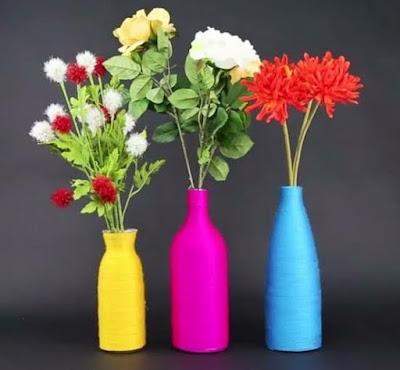 vas bunga dari botol plastik bekas pakai