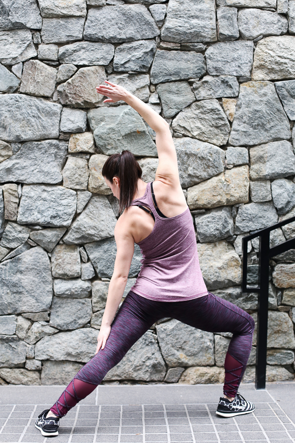 Naturally Me, Spring Workout Outfit, Target activewear, C9 Champion Workout Tank, C9 Champion Workout Leggings with Mesh, Burgundy Activewear, Stretching, Stretching Before Your Workout, Black and White Nike Flyknit Sneakers