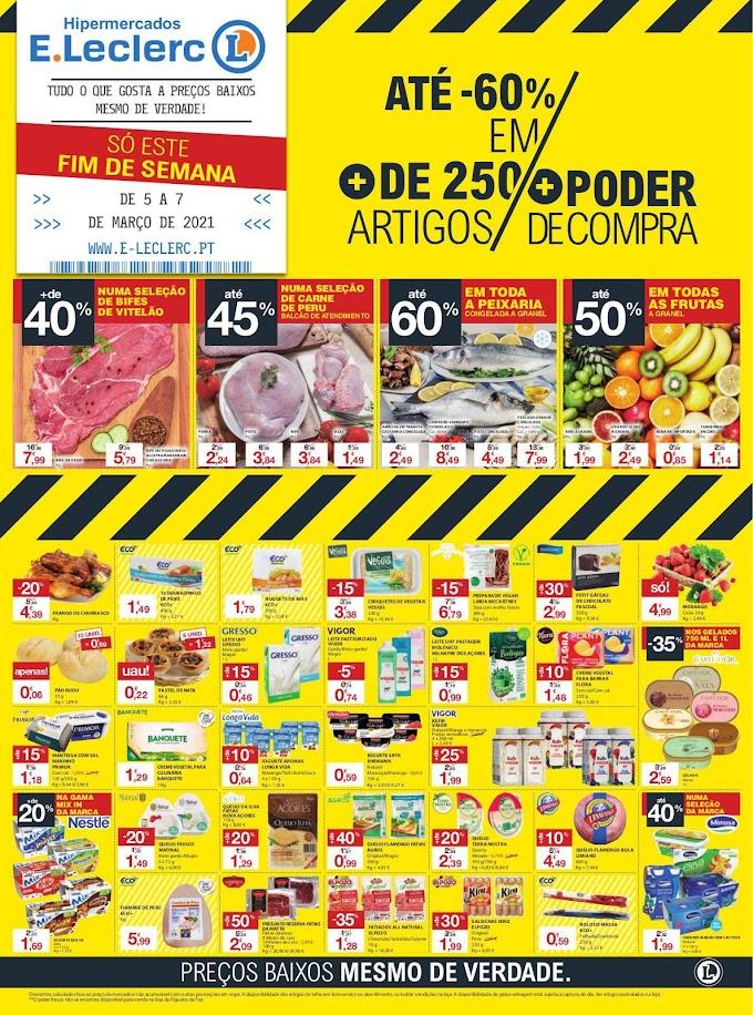 Folheto especial Fim-de-semana E.Leclerc - Descontos até 60% apenas de 5 a 7 de março