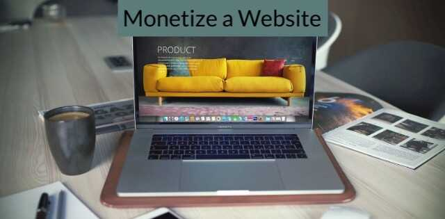 Monetize a website, project on a laptop monitor.
