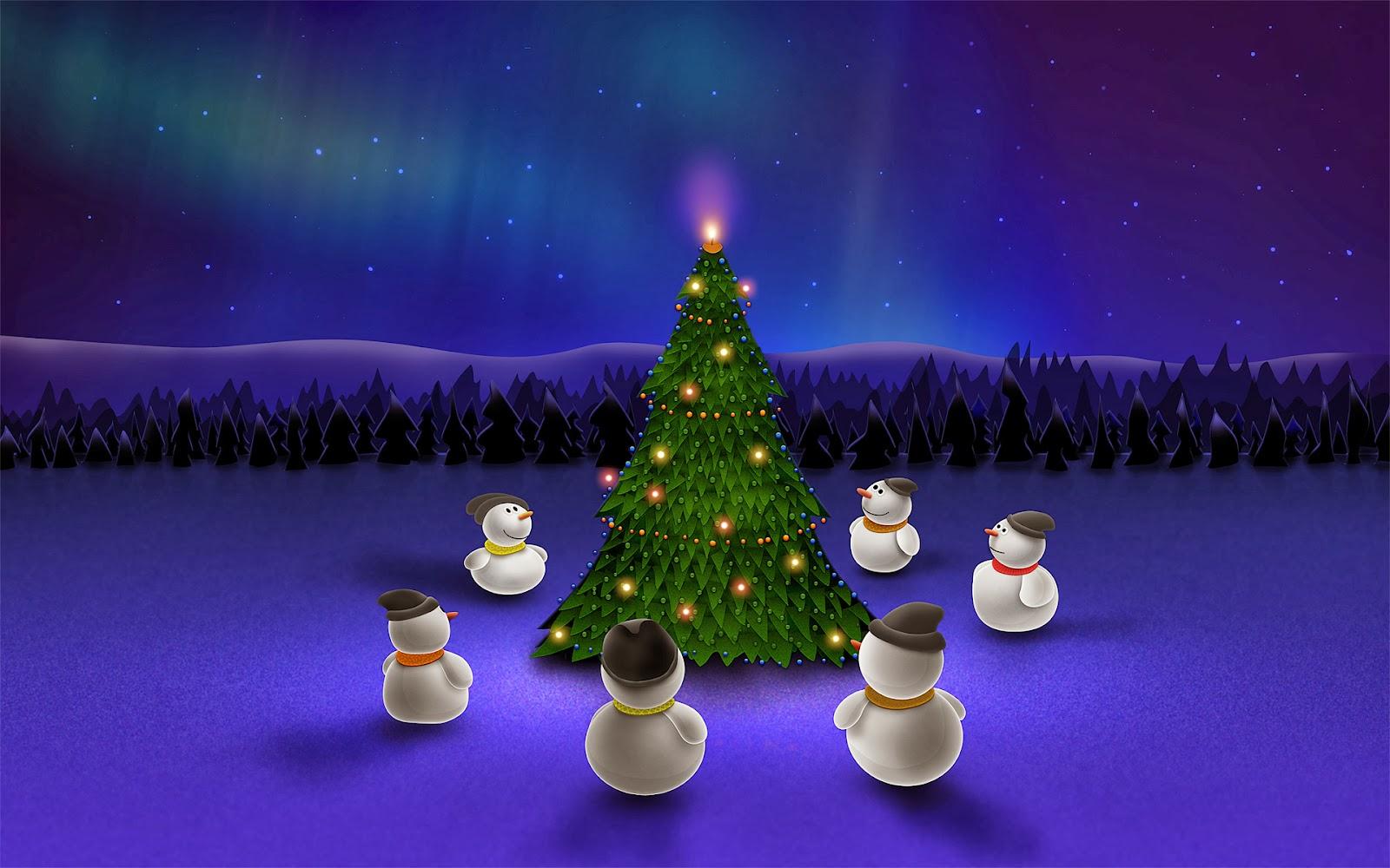 Fondos Navidad Animados: Fondo De Pantalla Navidad Muñecos De Nieve Alrededor De Abeto