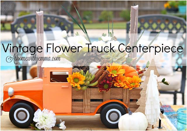 Thanksgiving, centerpiece, vintage, flower, truck, DIY Athomewithjemma