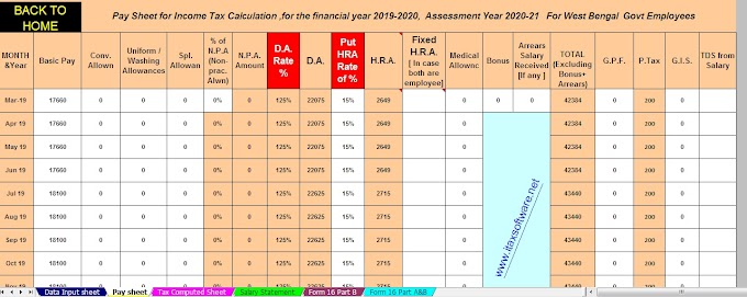 Download Automated All in One TDS on Salary West Bengal Govt Employees for the F.Y. 2019-20 with Automated H.R.A. Exemption Calculator U/s 10(13A) + Automated Revised Form 16 Part B and Form 16 Part A&B